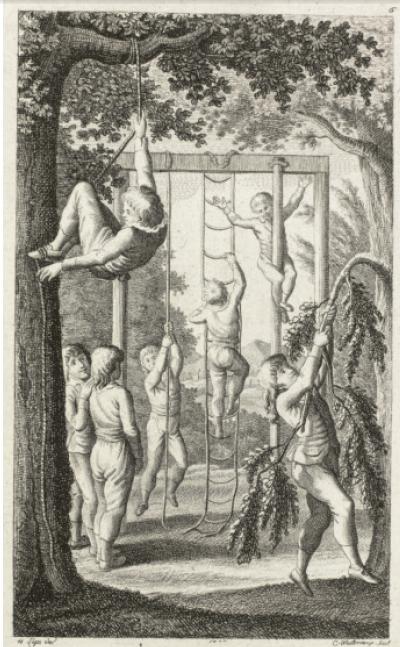 Gutsmuts gymnastik i en skov