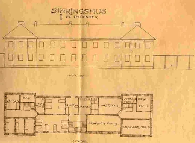 Arkitekttegning af et sikringshus